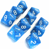 Blue & White 'Water' Speckled D10 Ten Sided Dice Set